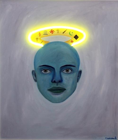 Medium: oil & neon light on canvasDimensions: 78 x 90 cmYear: 2013