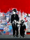 ''What's next'' Panos Antonopoulos (spray & paper on canvas 91x122cm, 2014)